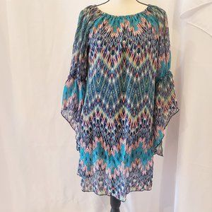 New Directions Split Flowing Sleeves Multicolor S